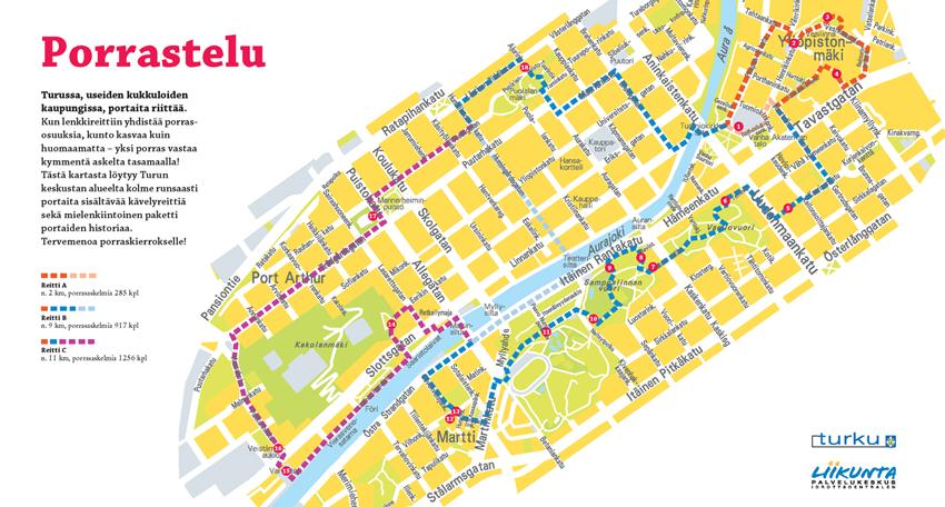 Turku stair-tour walking map